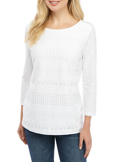 Kim Rogers® Womens 3/4 Sleeve Eyelet Front Top