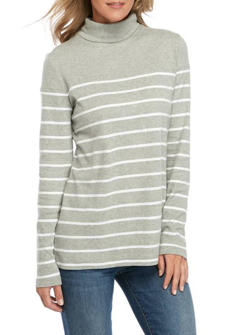 Womens Long Sleeve Turtleneck Stripe Shirt
