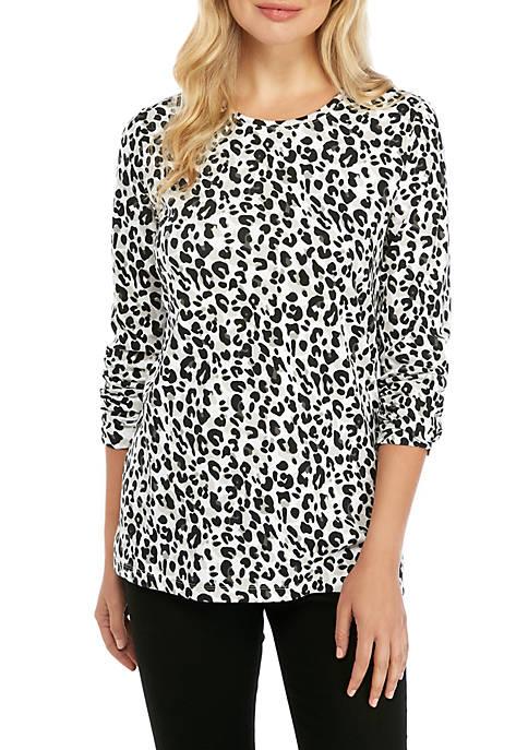 Kim Rogers® Long Sleeve Frozen Leopard Top