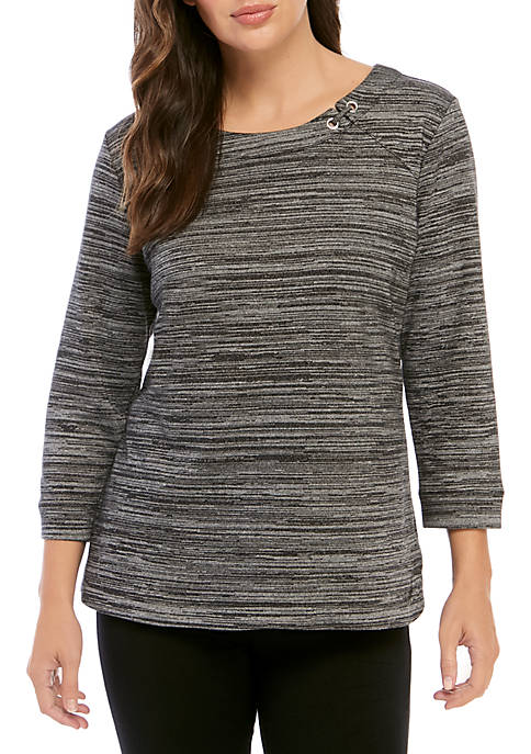 Kim Rogers® 3/4 Sleeve Space Dye Pullover