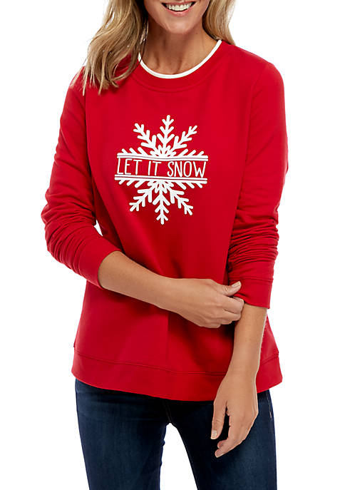 Kim Rogers® Long Sleeve Fleece Graphic Pullover