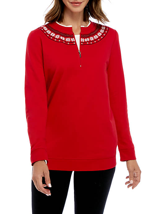 Kim Rogers® Long Sleeve Quarter Zip Printed Top