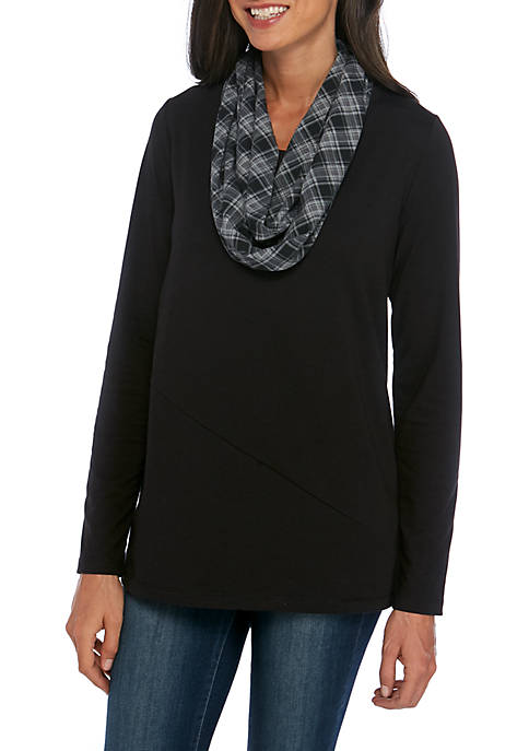 Kim Rogers® Long Sleeve 2Fer Tunic with Scarf