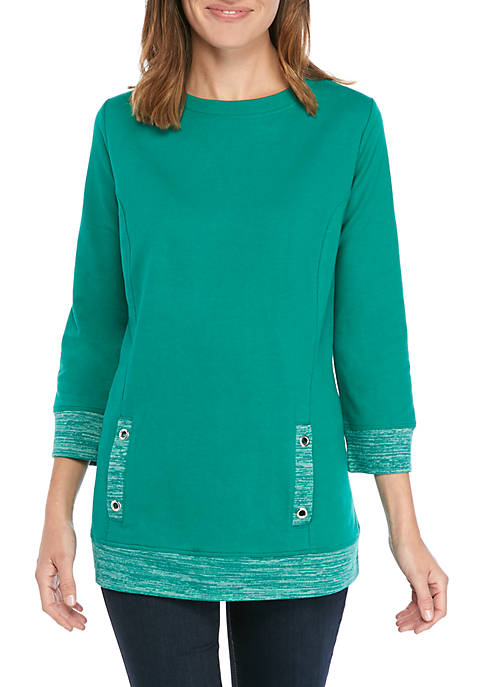 Kim Rogers® Womens Solid and Space Dye Pullover