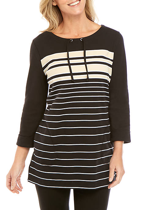 Kim Rogers® 3/4 Sleeve Pullover Striped Top