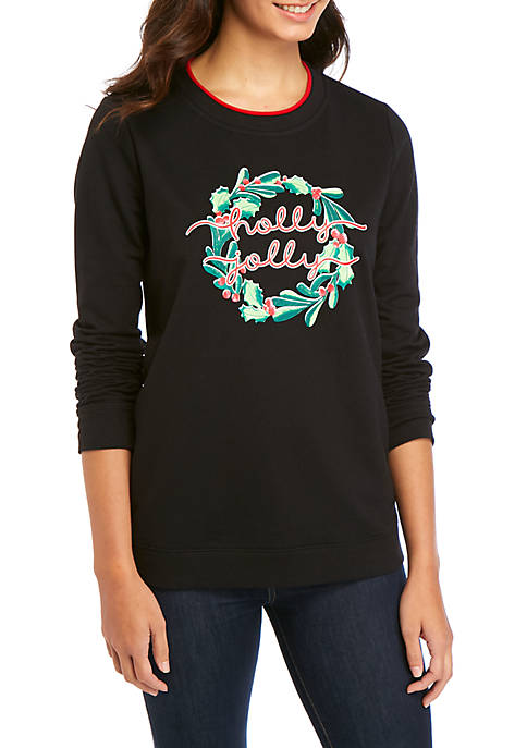 Kim Rogers® Womens Long Sleeve Fleece Graphic Pullover