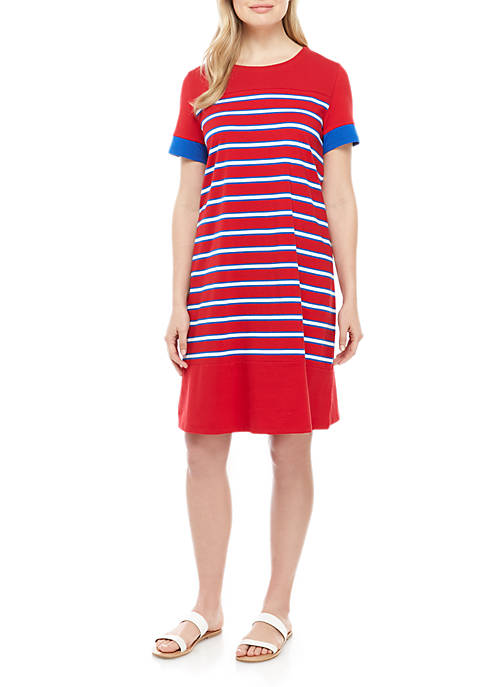 Kim Rogers® Short Sleeve Crew Neck Dress