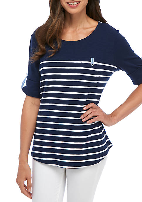 Kim Rogers® Roll Elbow Sleeve Top With Pocket
