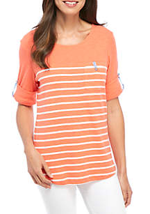 Roll Elbow Sleeve Top With Pocket