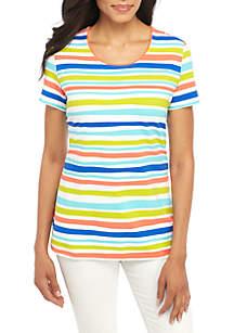 Short Sleeve Watercolor Stripe Top