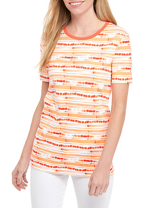 Kim Rogers® Short Sleeve Crew Neck Brush Stripe