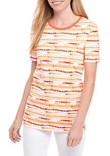 Short Sleeve Crew Neck Brush Stripe T-Shirt