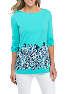 Three-Quarter Sleeve Neck Detail Print Top