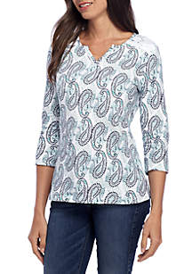 Split Neck Printed Lace Top