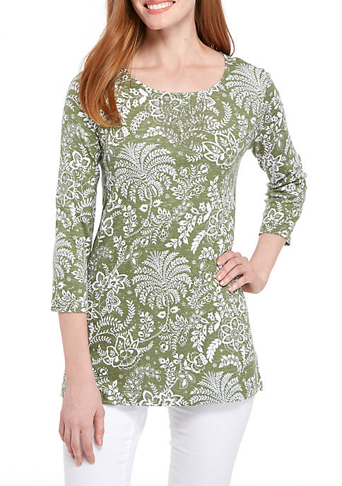 Kim Rogers® Three-Quarter Sleeve Embroidered Top