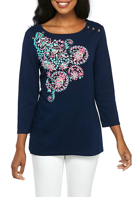 Kim Rogers® Ruffle and Button Print Shirt