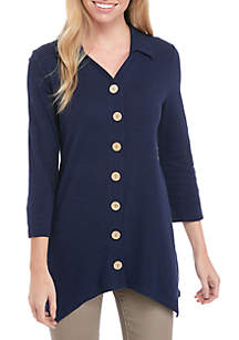 Button Front Mix Media Top
