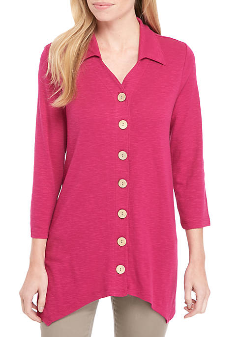 Kim Rogers® Button Front Mix Media Top
