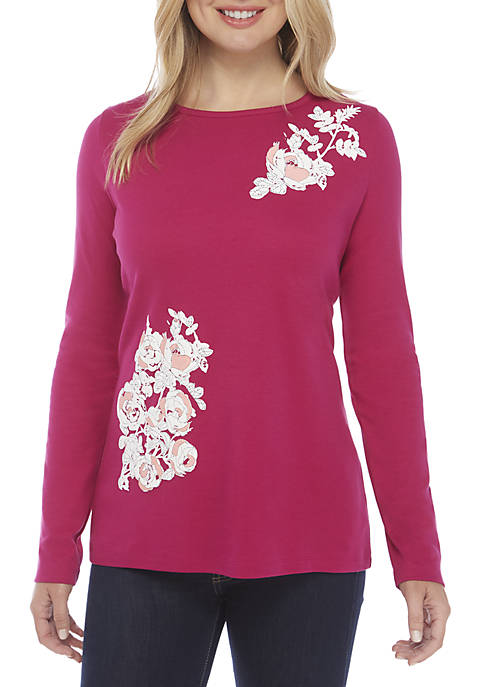 Kim Rogers® Long Sleeve Bio Floral Stitch Tee