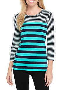 3/4 Sleeve Crew Double Stripe Elbow Top