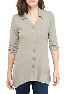 3/4 Mix Button Heather Top