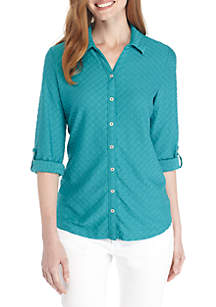 Knit Button Down Textured Blouse