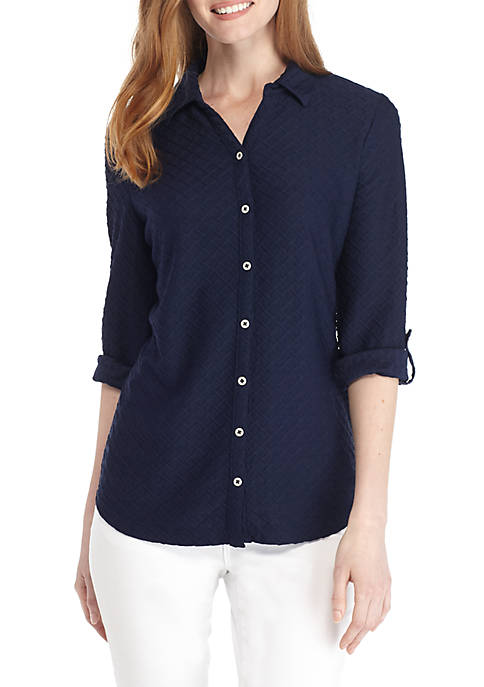 Kim Rogers® Knit Button Down Textured Blouse