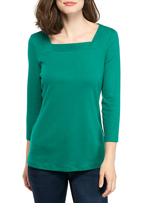 Kim Rogers® Solid Pleated Square Neck Top