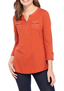 Three-Quarter Sleeve Knit-to-Woven Henley Solid Top