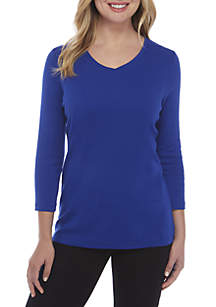 3/4 Sleeve V-Neck Mega Solid Top