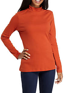 Long Sleeve Mock Neck Solid Top