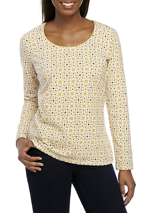 Kim Rogers® Long Sleeve Star Patch Top
