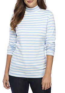 Long Sleeve Turtleneck Lurex Stripe Top