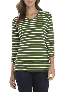 3/4 Sleeve V-Neck Stripe Top