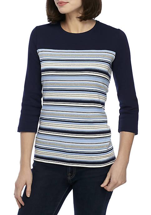 Kim Rogers® 3/4 Sleeve Striped Shirt