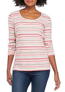 Long Sleeve Scoop Neck Stripe Top