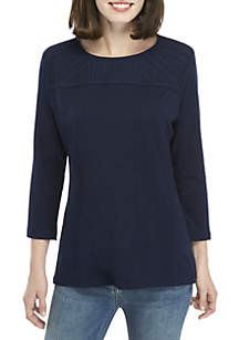 3/4 Sleeve Embroidered Yoke Top