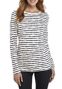 Long Sleeve Asymmetrical Stripe Top