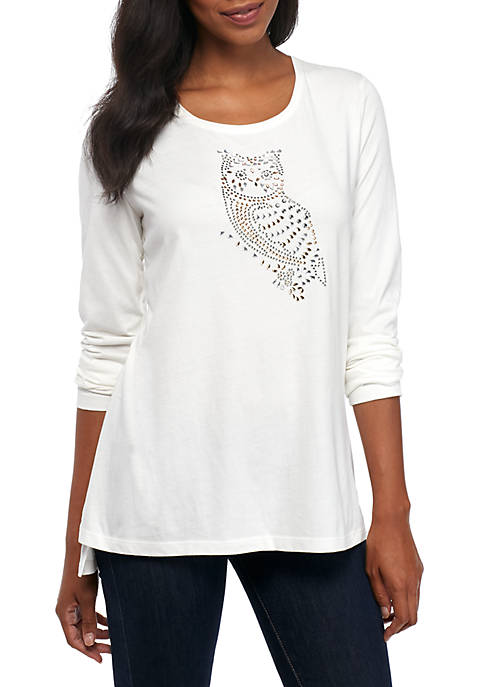 Kim Rogers® Long Sleeve High Low Owl Jewel