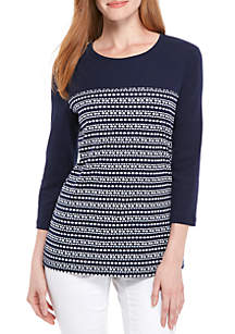 Three-Quarter Sleeve Dotty Stripe Top