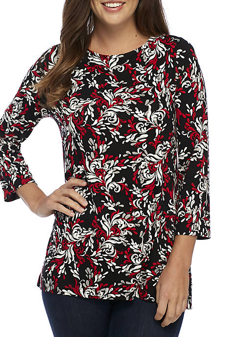 3/4 Sleeve Embroidered Print Top