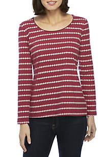 Long Sleeve Striped Knit Top