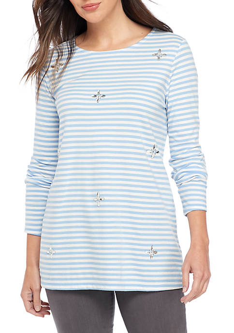 Kim Rogers® Long Sleeve Embellished Top