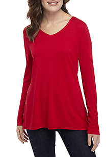 Long Sleeve High Low V-Neck Tunic
