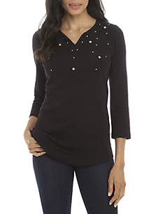 3/4 Sleeve Embellished Split Neck Top