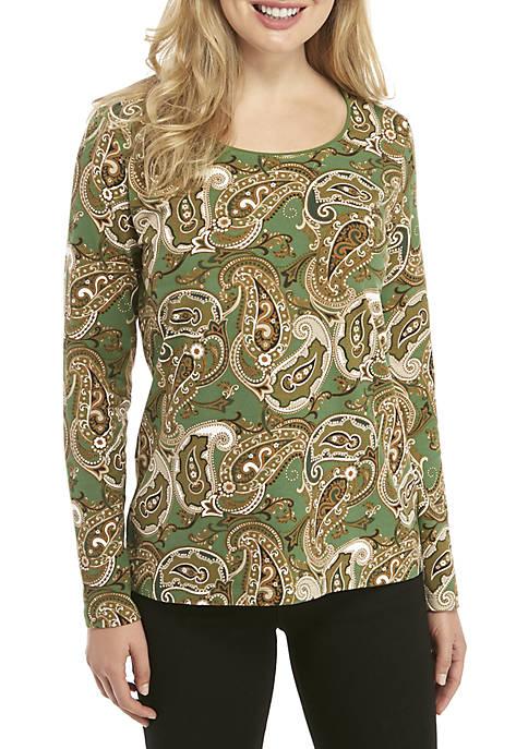 Kim Rogers® Long Sleeve Paisley Print Shirt