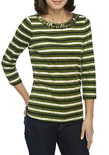 3/4 Sleeve Loop Neck Top