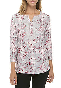 Three-Quarter Sleeve Lace Printed Top