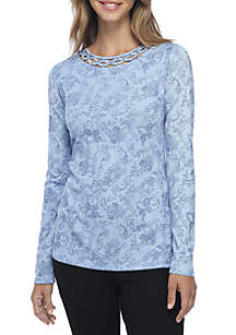 Long Sleeve High Low Embellished Lace Print Top