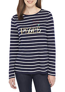 Long Sleeve Crew Neck Striped Peace Top